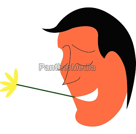 man and yellow flower vector or