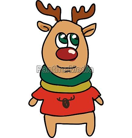 a deer wearing red tshirt vector