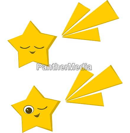 two stars vector color illustration