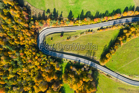 aerial view on road in iceland