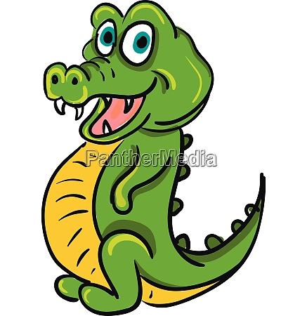 a green happy crocodile vector color