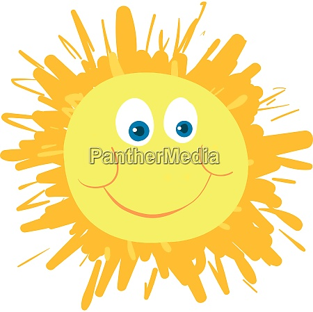 a happy sun vector color illustration