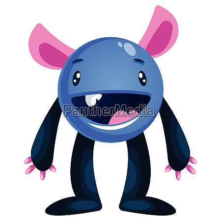 happy blue cartoon monster with big