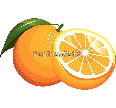cartoon orange with a green leaf