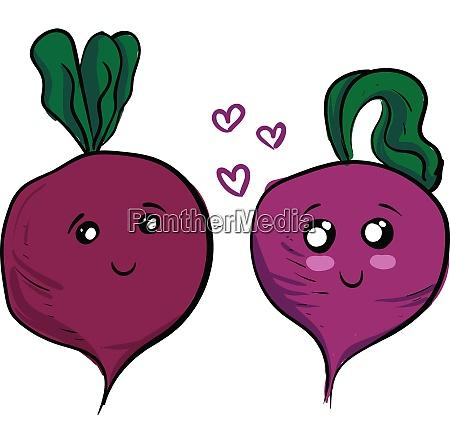 two cute purple beets in love