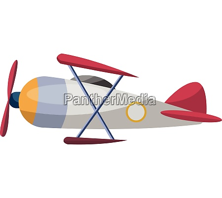gray old cartoon airplane vector illustration