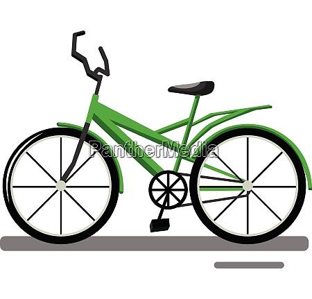 cartoon green bike vector illustration on