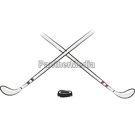 vector illustration of two white hockey