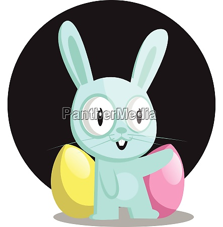blue bunny with blue and pink