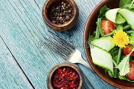 vegetable salad with dandelions
