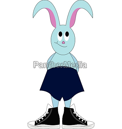 light blue bunny in deep blue