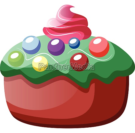 cupcake with green frosting and colorful