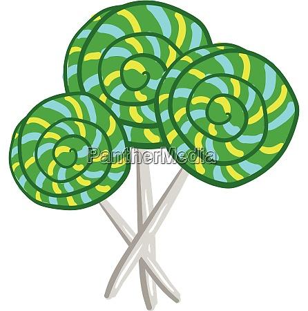 big green lollipop candies vector or