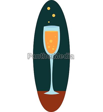 champagne glass in dark blue green