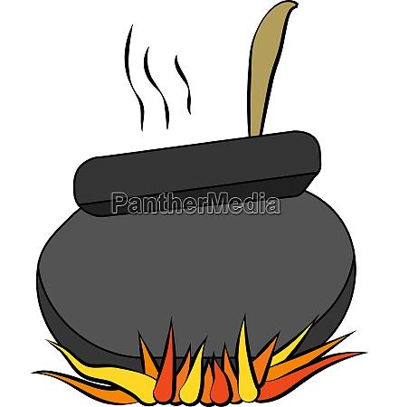 black magic witch cauldron vector or
