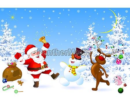 santa snowman and deer celebrate christmas