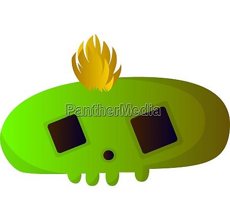 big green cartoon skull vector illustartion