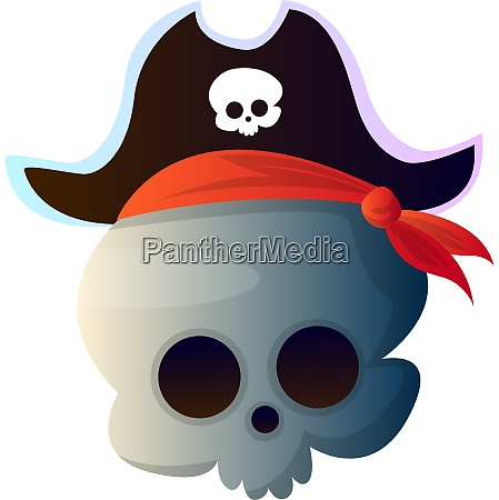 cartoon skull with pirat hat vector