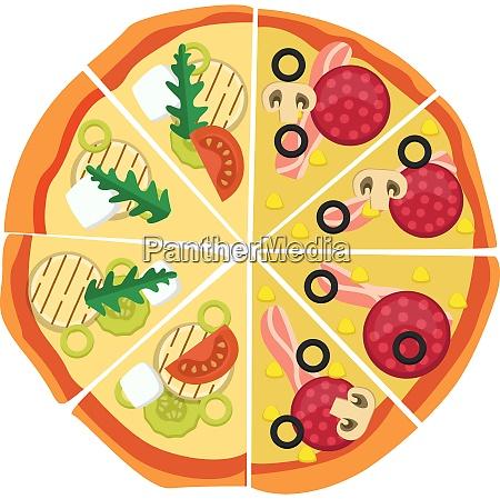 half pepperonihalf veggie pizza print