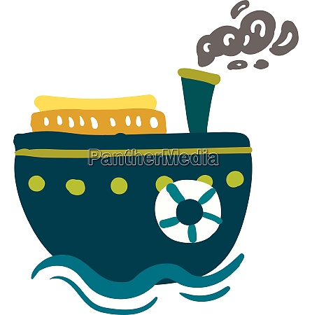 a blue steam ship vector or