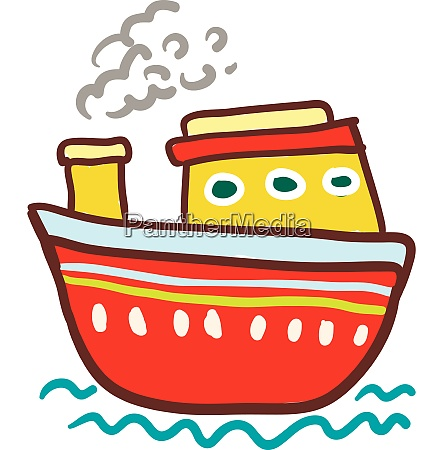 red and yellow colorful boat vector