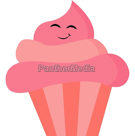 pink cupcake vector or color illustration