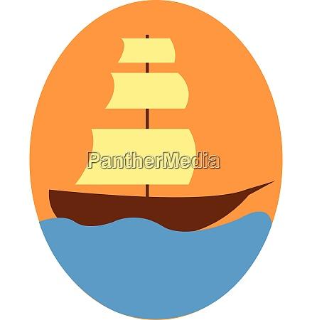 vintage sailor ship floating on blue