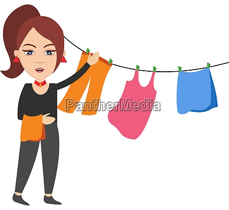 woman spread clothing illustration vector on
