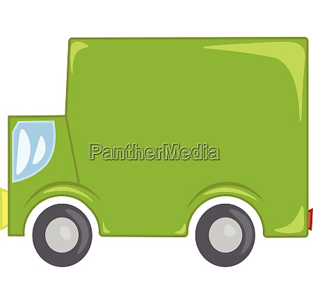 green commercial truck vector or color