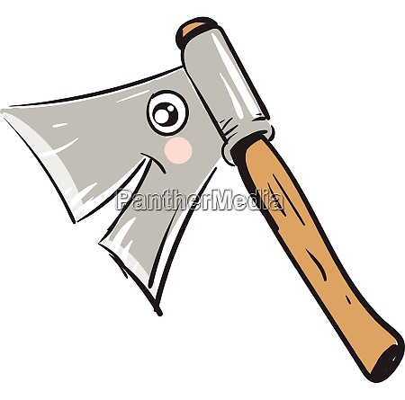 smiling wooden ax vector illustration