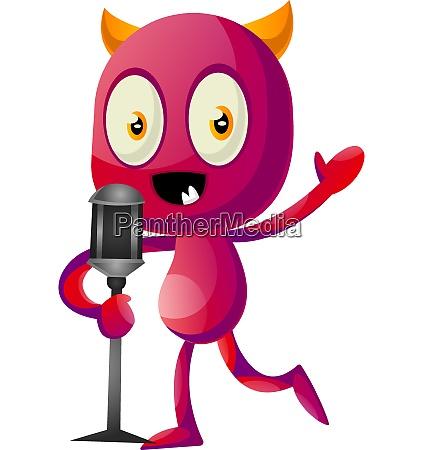 devil speak on microphone illustration vector