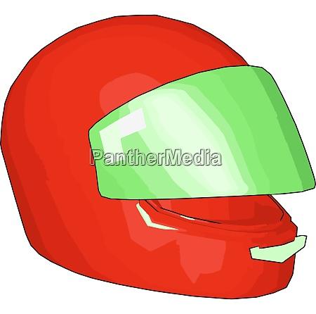 red and green motorcycle helmet vector