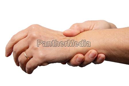 close up wrist pain woman