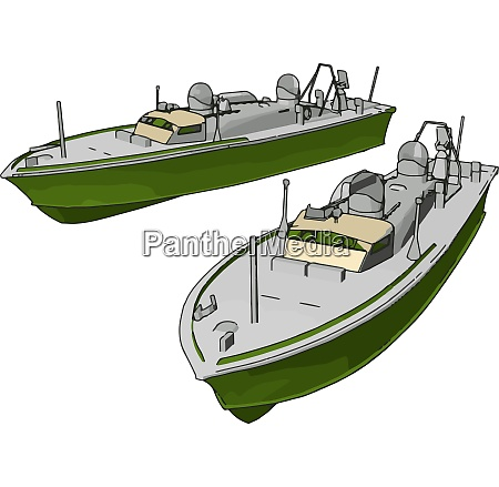 3d illustration of two green army