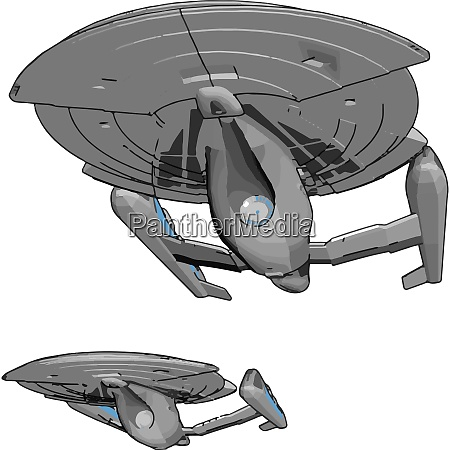 fantasy imperial spaceship vector illustration on