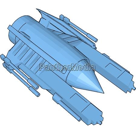 blue sci fi battleship vector illustration