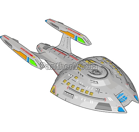 fantasy battle cruiser vector illustration on