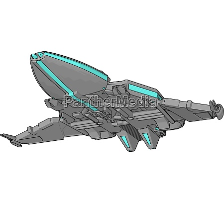 blue and grey spacecraft vector illustration