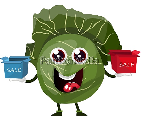 cabbage is holding sale boxes illustration