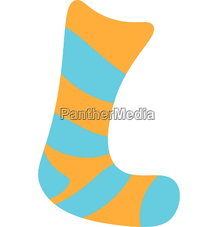 a blue and yellow sock vector
