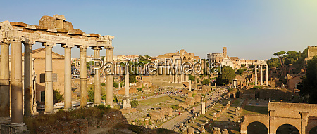 panoramic view of ancient rome ruins