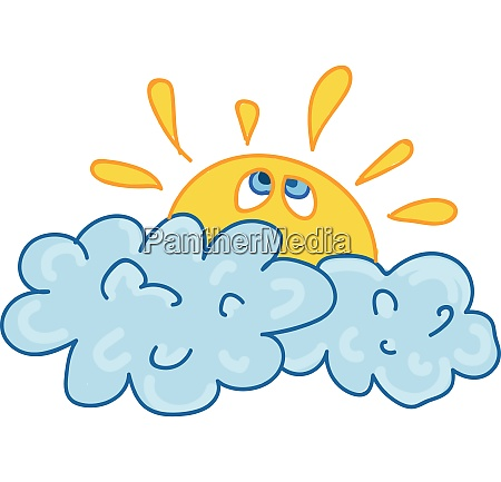 a sun covered by clouds vector
