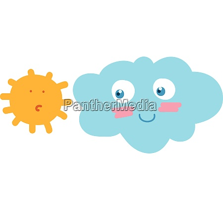 a sun and cloud looking at