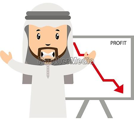 arab with profit drop illustration vector