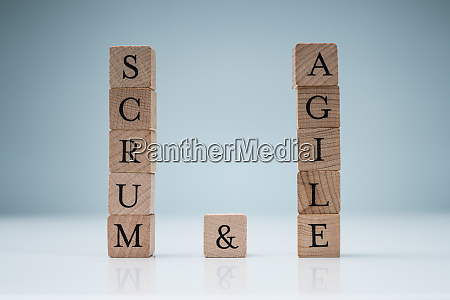 wooden scrum and agile blocks on