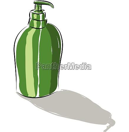 a green dispenser that pumps out