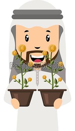arab holding flowers illustration vector on