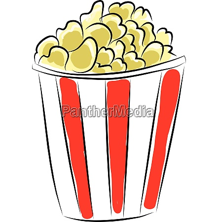 red and white box of popcorn