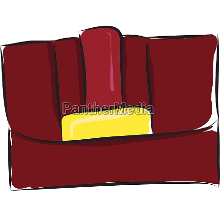 red ladies clutch purse vector illustration