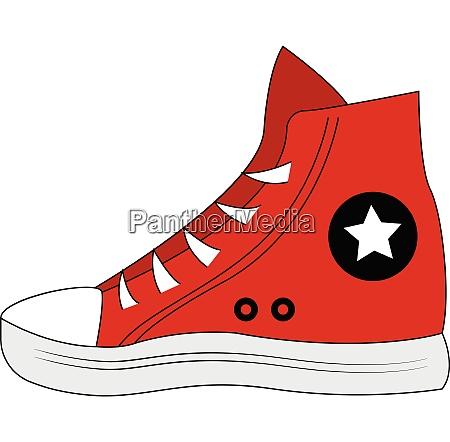 red sneaker vector illustration on